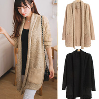 Autumn and winter women plus size sweater outerwear large size sweater mm long design loose plush cardigan female
