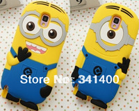 1Pcs/Lot 3D Despicable Me 2 Minions Soft Silicone case Cover For Samsung Galaxy Note 3 High Quality Drop Shipping