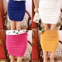 Spring 2014 Women Korean factory direct candy-colored stretch elastic waist skirt skirt high pockets