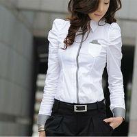 Sexy OL Women Fashion Shrug Bubble Long Sleeve Slim Cotton Shirt Blouse Top