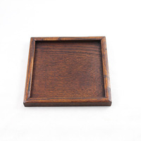 Dark color rustic pallet wooden tea tray plate wooden quadripartite 16cm small trenchantly japanese style flat saucer