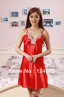 2014 Summer sexy thin short night skirts floral lace women's homewear artificial silk nightgown for female 51301