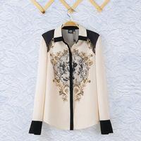2014 Fashion Ladies' vintage Totem print blouse Turn-down collar long sleeve Shirt casual slim brand designer tops
