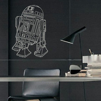 Large star wars R2D2 self-adhesive wall sticker wall mural pvc home decal wallpaper