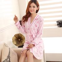 2014 Fsahion Spring and autumn of pure cotton spaghetti strap sexy nightgown robe twinset women's elegant long-sleeve sleepwear