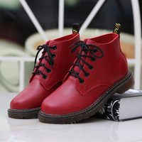 Spring women's shoes british style vintage low boots genuine leather motorcycle boots martin boots women's lacing shoes