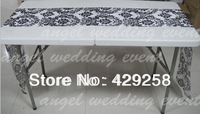 Free Shipping 1 Piece Flocking Taffeta White & Black Table Runner for Wedding,Party,Hotel