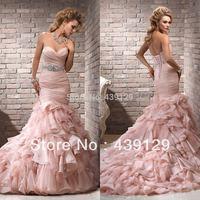 2014 Sweetheart Meimaid Organza Formal Ruffles Cheap Meimaid Peach Wedding Dresses