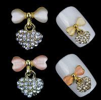 New 3d Alloy Nail Decorations,Mix10pcs/lot Slice Glitter Bow Heart Designed Metal Nail Art,DIY Beauty Crystal Nail Tips Tools