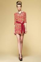 Twill silk floral print dress-1515/Novelty women summer dresses/New fashion party dresses