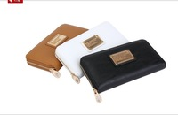 Free shipping 2014 fashion mj women's metal mark cowhide long design popper mj black zipper wallet female purse