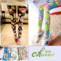 2014 summer new Port Fan cotton rose flower pants feet were thin wild fashion leggings