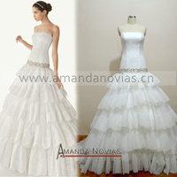Strapless Drop Waist Layers Lace Luxury Real Novias Wedding Dress NS580