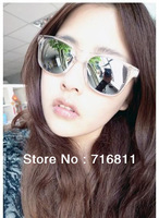 2014 New Freeshipping Hotsales New Products 2013 Punk Women Designer Frame Sunglasses Clear Frames Reflective Mirror For Summer
