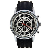 Male Roman numerals mechanical watches free shipping marks and 12 hours round rubber strap