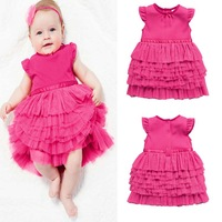 Wholesale 2014 New Retail Baby Girls Lace Dress children's clothing tutu dress cake dress baby kids summer dress rose