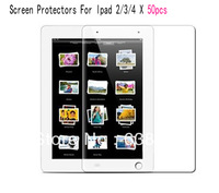 Free Shipping 50pcs Anti Glare Ultra Thin Smooth LCD Screen Protectors Covers Film Guard For Apple iPad 2 3 4 Precise Cut