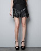 New Fashion Womens' PU Leather Ruffles Pleated Sexy Rivet Mini Skirt Elegant Classic Black Casual Gril's Hot Black