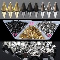 Hot Metal Punk Rock Nail Art Decoration,1000pcs/lot Circular Cone Star Spikes 3D Rivet Bags Shoes Phone DIY Rivet Clinch Bolt