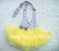 Fashion baby girls stripe pattern yellow chiffon pettiskirts,tutu for party dresses