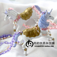Handmade hand for HARAJUKU soft royal dream unicorn pearl necklace