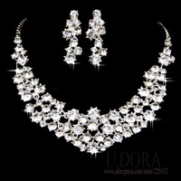 Sparking Luxe Cluster Crystal Necklace Earrings Party Jewelry Sets