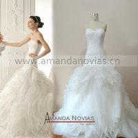 Amazing Designer Drop Waist Organza Real Sample Wedding Dress