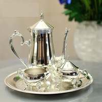 New arrival silver plated metal coffee set/tea set for weddings or party or KTV