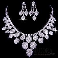 Wholesale Lucky Leaf Earrings Necklace Women Jewelry Set Wedding Accessories
