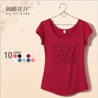 2014 NEW free shipping hot cotton t-shirt women short sleeve o neck 3D letters printed women's short casual t shirt 9colors