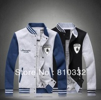 2014 Spring and Autumn Men's Fashion Large Size plus Velvet Long Sleeve Slim Thick Sweatshirt Baseball Uniform Jacket Outwear