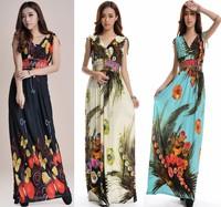 Plus size 2-5xl sleeveless tank dress butterfly ultra long print v-neck dress long dress