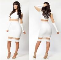 Popular Style Women Long Sleeve White/Black Mesh Bodycon Bandage Dress 2014 Spring Sexy Knee Length Party Clubwear