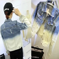 Harajuku gradient color short design denim outerwear denim jacket short jacket female denim top