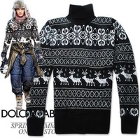 D elizabethans skiing mens sweater classic pattern turtleneck pullover sweater male sweater