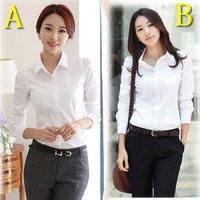 2014 new Korean female office lady OL Slim long-sleeved white shirt cotton shirt , size XS --- 5XL