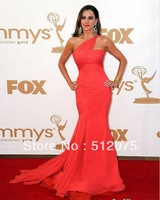 2014 New Arrives Mermaid Celebrity Dresses Red Carpet Slimming One-shoulder Chiffon Gown Customer Made Celebrity Dress