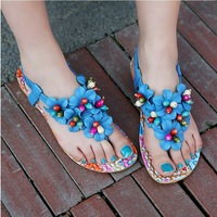 New 2014 Summer Fashion Trends Sweet Flowers Clip Toe Flat Sandals Hand-Sewn Beads With Flat Flip Rome Shoes AA09
