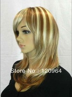 New long Vogue Blonde Fashion Wavy hair Wig Lace Party Cosplay Costume Wig,Natural wig