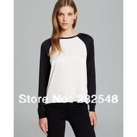 Wholesale 2014 summer new European style mixed colors black sleeve chiffon shirt female casual cotton T-shirt