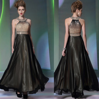 30290 halter-neck black fashion evening dress long design star