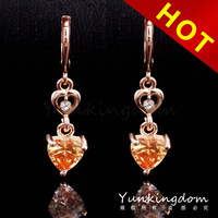 2014 Mixed Order Free shipping 18K Rose Gold Filled Cubic zirconia accessories fashion Lady long Earrings Dangler Jewelry CZ0414