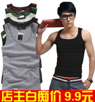 Male summer short T-shirt Tight tank male elastic vesseled 100% tight cotton vest male sports vest vesseled 9.9
