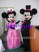 Wedding Micky and minnie mouse cartoon mascot costume adult size Free shipping