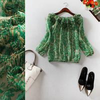 Free shipping! 2014 spring and summer slit neckline three quarter sleeve stereo disk flowers decoration silk shirt b145719