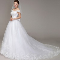 The bride wedding gown v-neck shoulder lace wedding dress   word. Free shipping