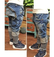 NZ193 Free shipping fashion boy jeans for spring/autumn kids novelty denim trousers new style children pocket jeans retail