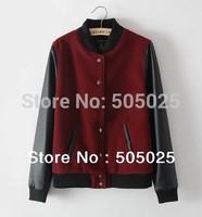 Y107, 2014 baseball spring clothing female PU leather stitching woolen jacket collar handsome baseball women's sweatshirts