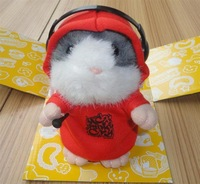 1pc MC DJ Rapper Early Learning Wear Clothes Hamster Talking Toy for Kids Repeat Talking Hamster Toy
