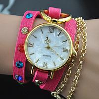 2014 New Ladies leather strap quartz watches colors women Rhinestone dress watches luxury clock hotting in world